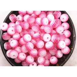 30 Perles en Acrylique Ronde Rayées Opaque 6mm Couleur Rose MC0106239
