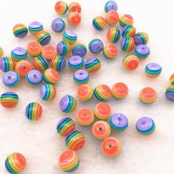 30 Perles en Acrylique Ronde Rayées Opaque 6mm Arc en Ciel MC0106241