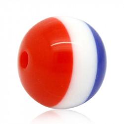 10 Perles en Acrylique 10mm Bleu Blanc Rouge, Drapeau France MC0110086
