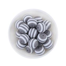 30 Perles en Acrylique Ronde Rayées 6mm Couleur Gris MC0106244
