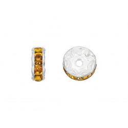20 Perles 10mm Rondelle Couleur Argenté Strass Camel MC0110353