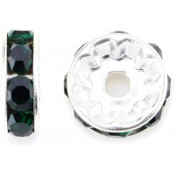 20 Perles 10mm Rondelle Couleur Argenté Strass Vert Nuit MC0110354