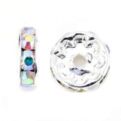 20 Perles 10mm Rondelle Couleur Argenté Strass Effet Arc en Ciel MC0110359