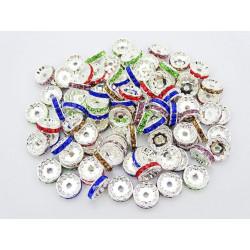 20 Perles 10mm Rondelle Couleur Argenté Strass Mixte MC0110360