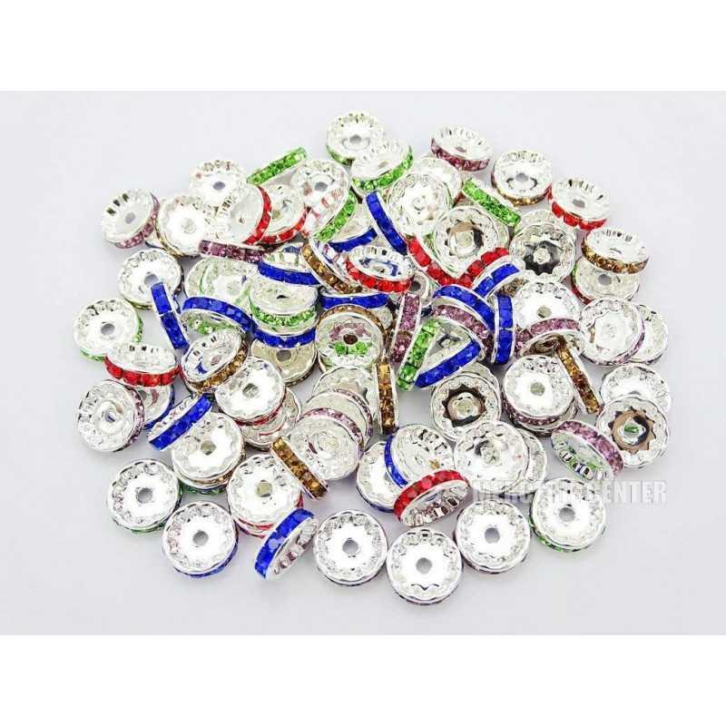 20 Perles 10mm Rondelle Couleur Argenté Strass Mixte