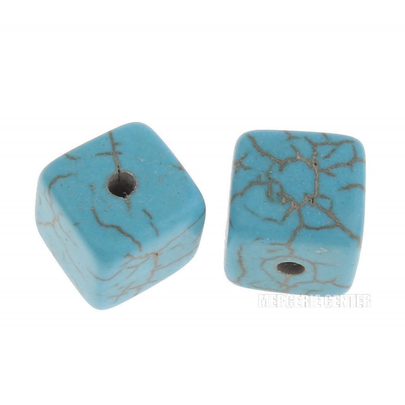 10 Perles 10mm Perle Cube Imitation Pierre Turquoise