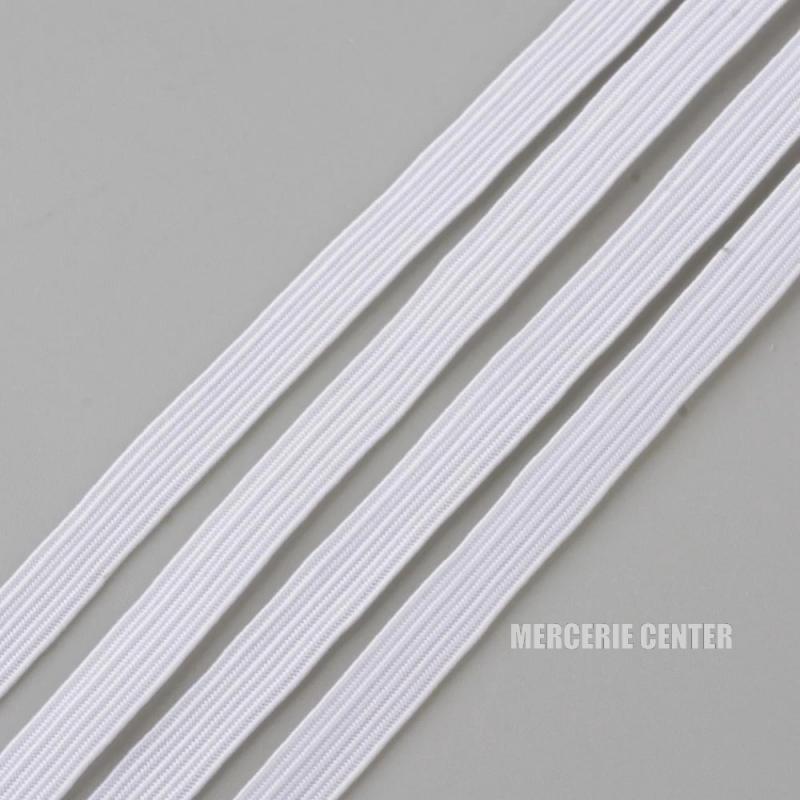 Fil Elastique Plat Blanc 6mm (vendu au metre)