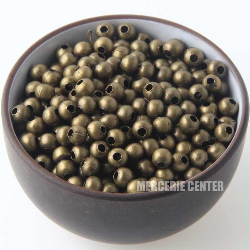 50 Perles Metal 4mm Rond Couleur Bronze