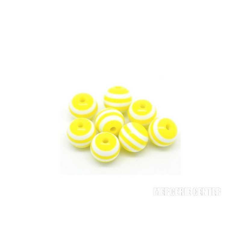 20 Perles en Resine Rayé 8mm Jaune et Blanc