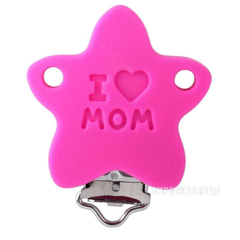 """Silicone Clip Pince Attache Tetine Etoile """"I♥MOM"""""""