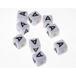 Perle Blanche Acrylique Lettre Alphabet 10mm x 5 pièces