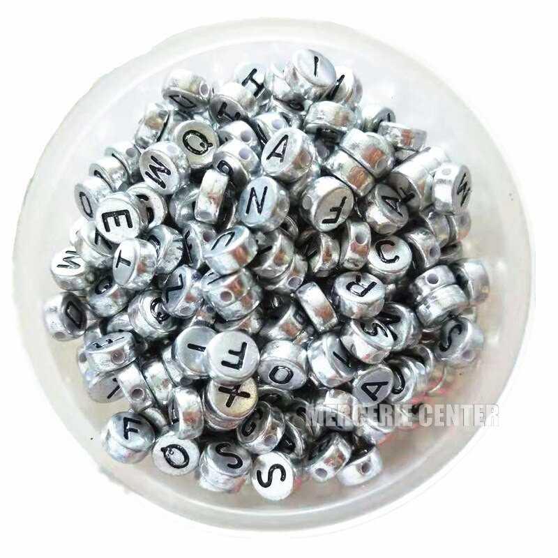 Perle Alphabet Argenté 7mm x 4mm Acrylique Lettre Aleatoire