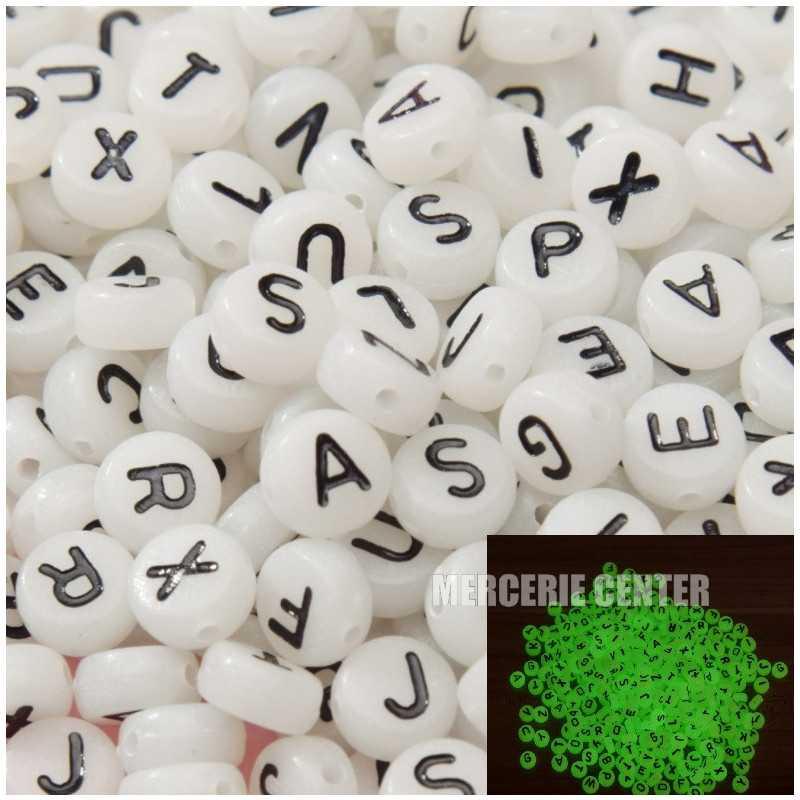 Perle Alphabet Fluorescent 7mm x 4mm Acrylique Lettre Aleatoire