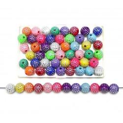 20 Perles en Acrylique 8mm Mix Multiple Point Argenté MC0108241
