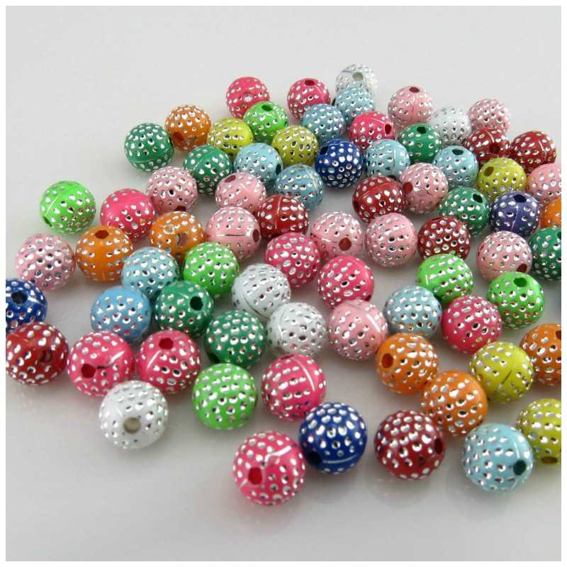 20 Perles en Acrylique 8mm Mix Multiple Point Argenté