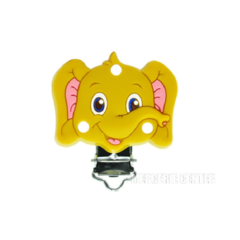 Silicone Clip Pince Attache Tetine Elephant 45mm x 50mm