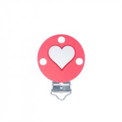 Silicone Clip Pince Attache Tetine Rond avec Coeur 35mm x 50mm MC2035705