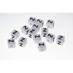 Perle Blanche Acrylique Lettre Alphabet 10mm x 10 pièces