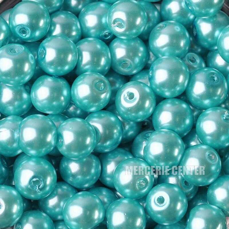 20 Perles imitation en Verre 8mm Couleur Bleu Clair