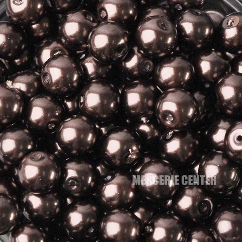 20 Perles imitation en Verre 8mm Couleur Marron