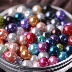 20 Perles imitation en Verre 8mm Couleur Mixte MC0108289