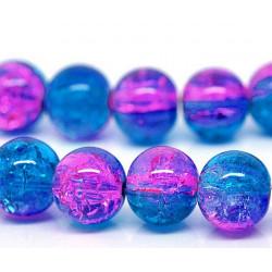 10 Perles en Verre Craquelé Fissuré Violet et Bleu 10mm MC0110097