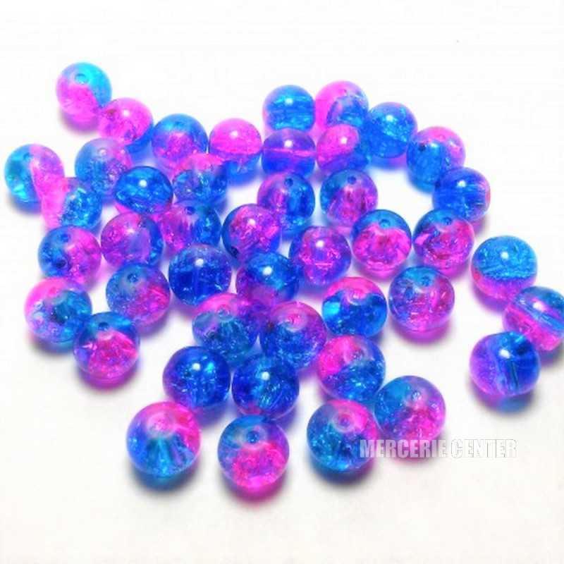 20 Perles en Verre Craquelé Fissuré Violet et Bleu 8mm