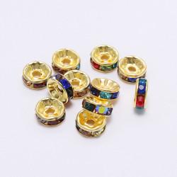 20 Perles 10mm Rondelle Couleur Doré Strass Multicolore MC0110365