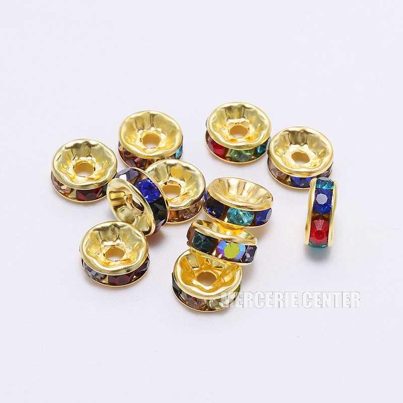 20 Perles 10mm Rondelle Couleur Doré Strass Multicolore