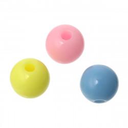 50 Perles en Acrylique Ronde 6mm Couleur Pastel Mixte MC0106220