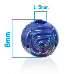 20 Perles Rond Fleur 8mm Couleur Mixte MC0108320