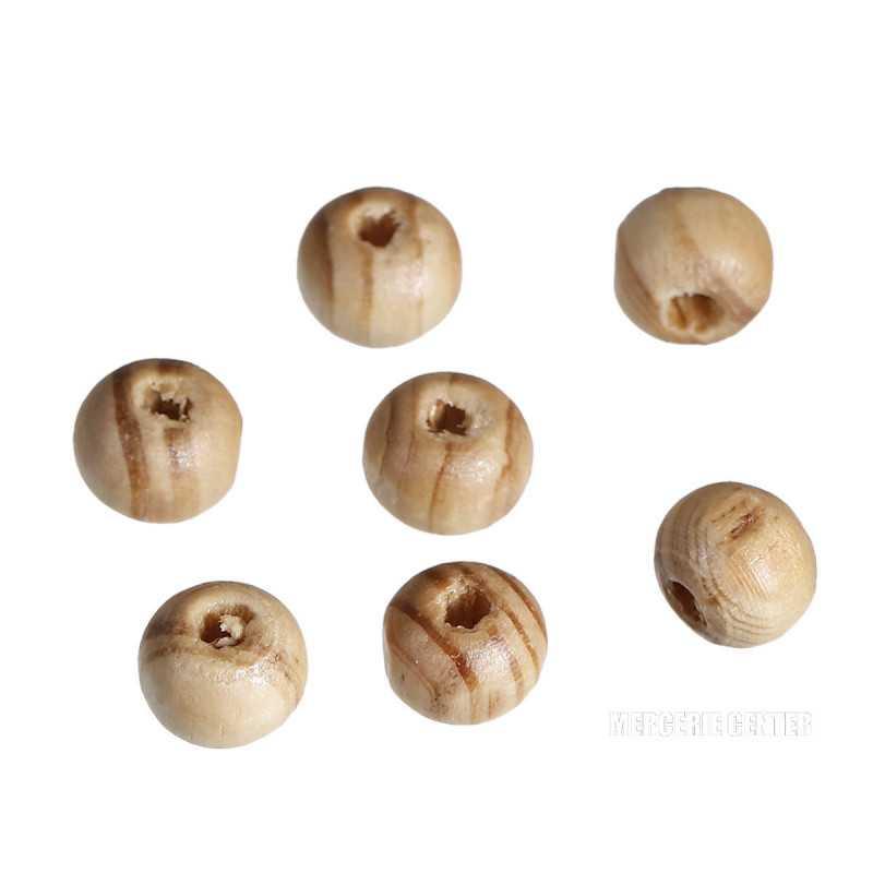 20 Perle en Bois 8mm Strié Marron Rayé
