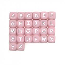 Perles Silicone Lettre Alphabet 12mm Rose MC1200101