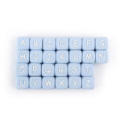 Perles Silicone Lettre Alphabet 12mm Bleu Clair MC0112102