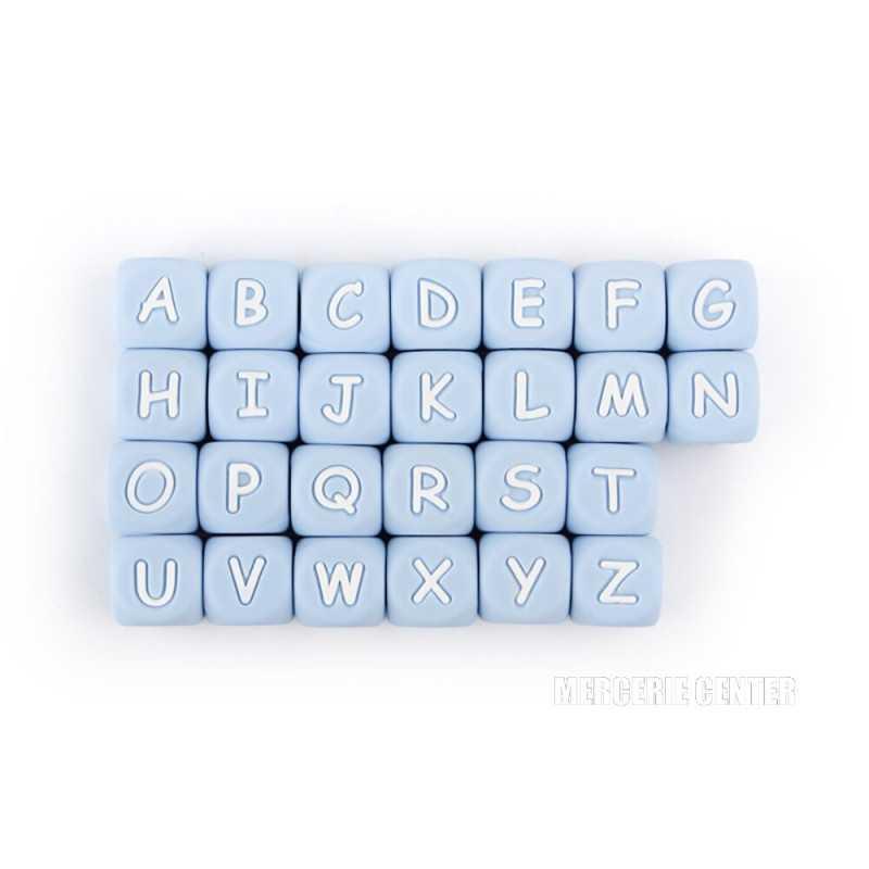 Perles Silicone Lettre Alphabet 12mm Bleu Clair