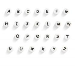 Perles Silicone Lettre Alphabet Rond 12mm Blanche MC0112106