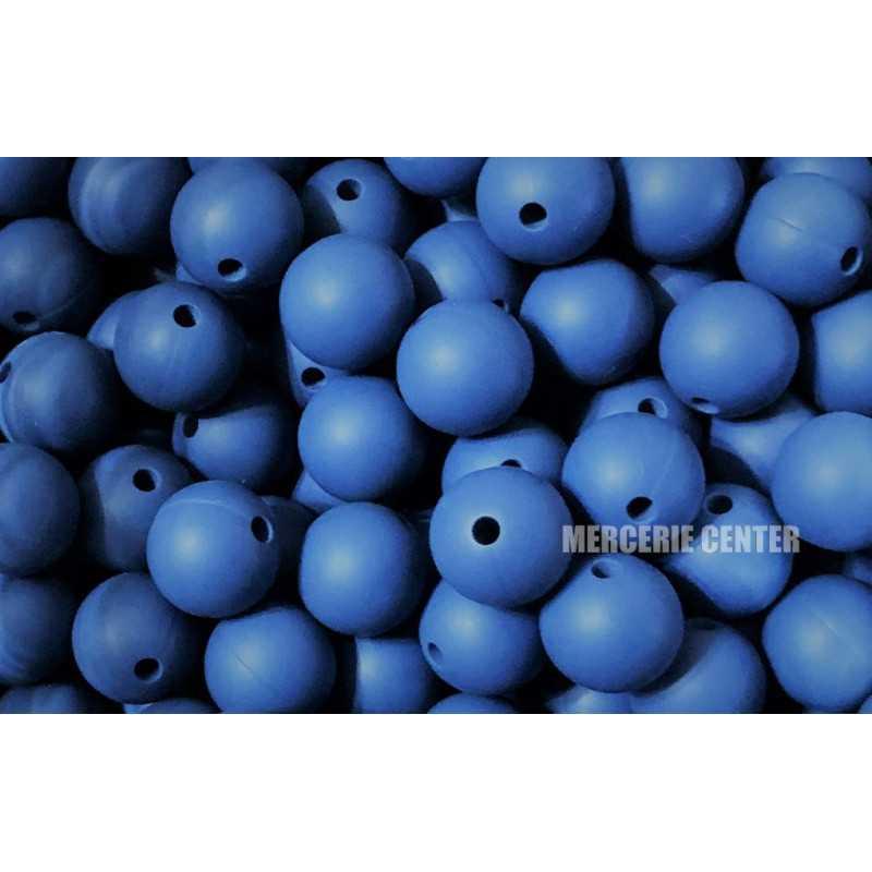 5 Perles Silicone 15mm Couleur Bleu Ardoise