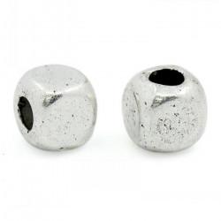 20 Perle Cube 4mm Argente Métal