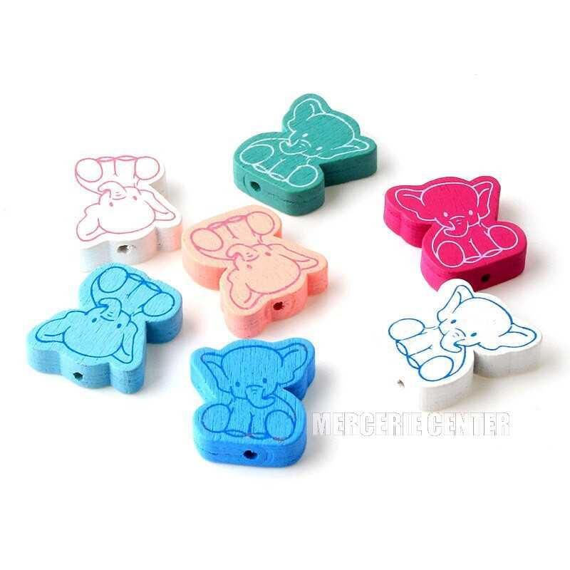 5 Perles en Bois Elephant Mixte 25mm x 21mm