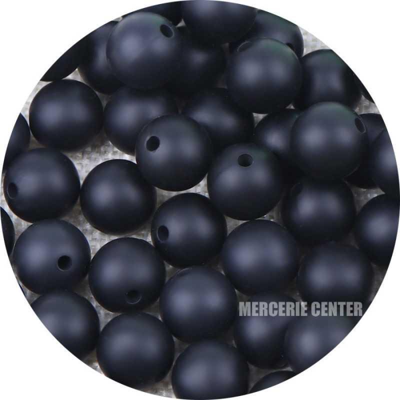 10 Perle Silicone 9mm Couleur Marbre Noir