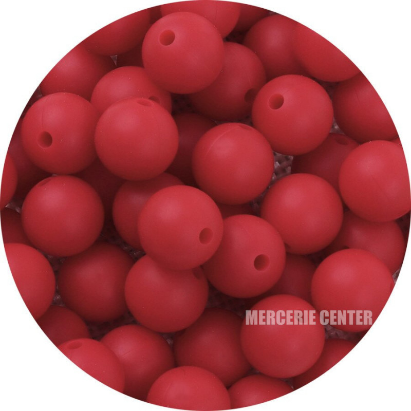 10 Perle Silicone 9mm Couleur Rouge