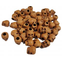 10 Perles Tete de Mort 10mm x 9mm Couleur Citrouille Tete Squelette MC0400070
