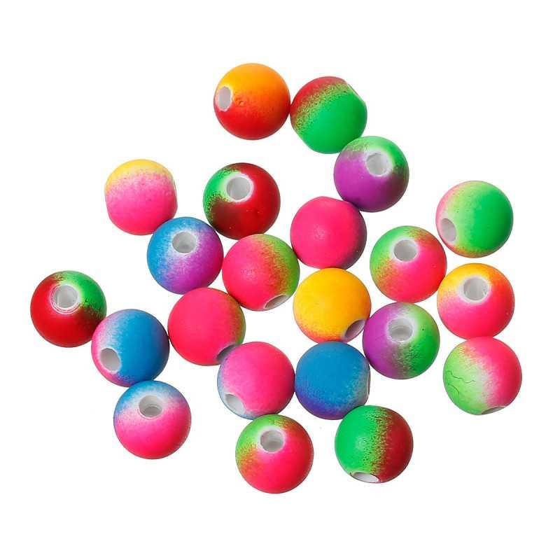 10 Perles en Acrylique 10mm Fluo Mixte Multicouleur Effet Caoutchouc