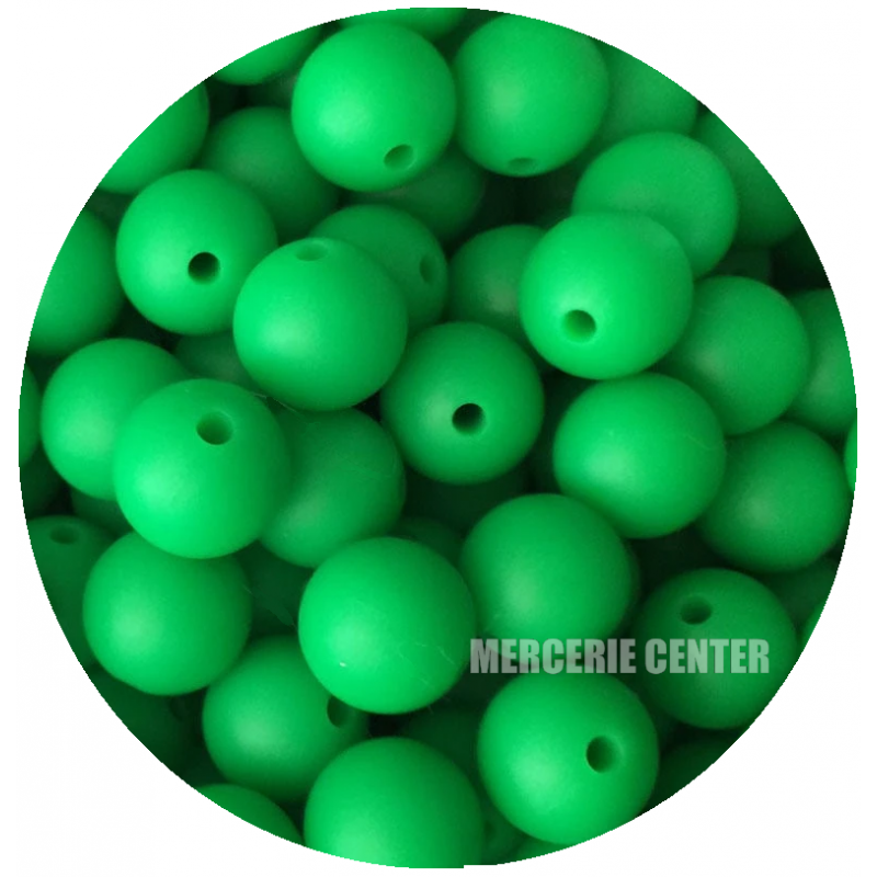 5 Perles Silicone 15mm Couleur Vert Herbe