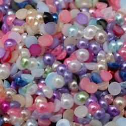 100 Pieces Demi Perles 4mm Mixte à Coller
