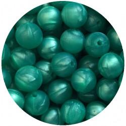 10 Perles Silicone 9mm Couleur Vert Marbré MC1200130ZF