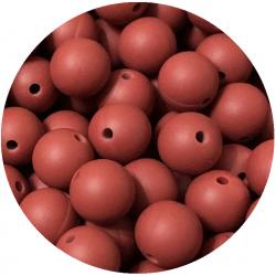 10 Perles Silicone 9mm Couleur Rouge Brique MC1200130ZG