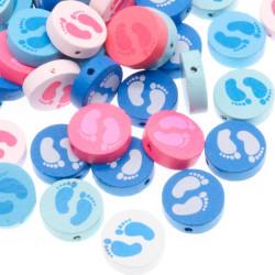 5 Perles en Bois Rond Pied Mixte 20mm MC0700050