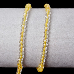 40 Perles en Verre 4mm Facette Jaune Transparent MC0104014