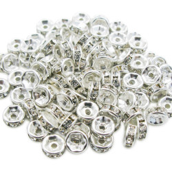 20 Perle Rondelle Strass Intercalaire Argenté 4mm MC0104006